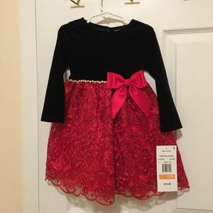 Little girls formal red and black dress